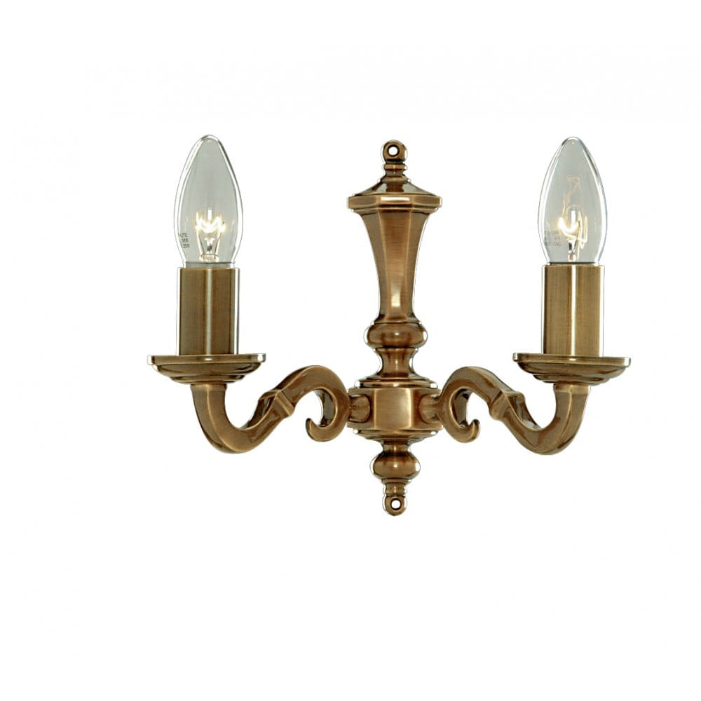 Vintage Wall Lights Double : Traditional Candle Style Antique Brass Wall Light