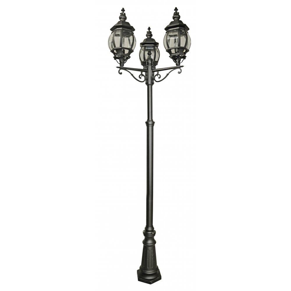 lighting catalogue belle aire black aluminium 3 light garden lamp post. Black Bedroom Furniture Sets. Home Design Ideas