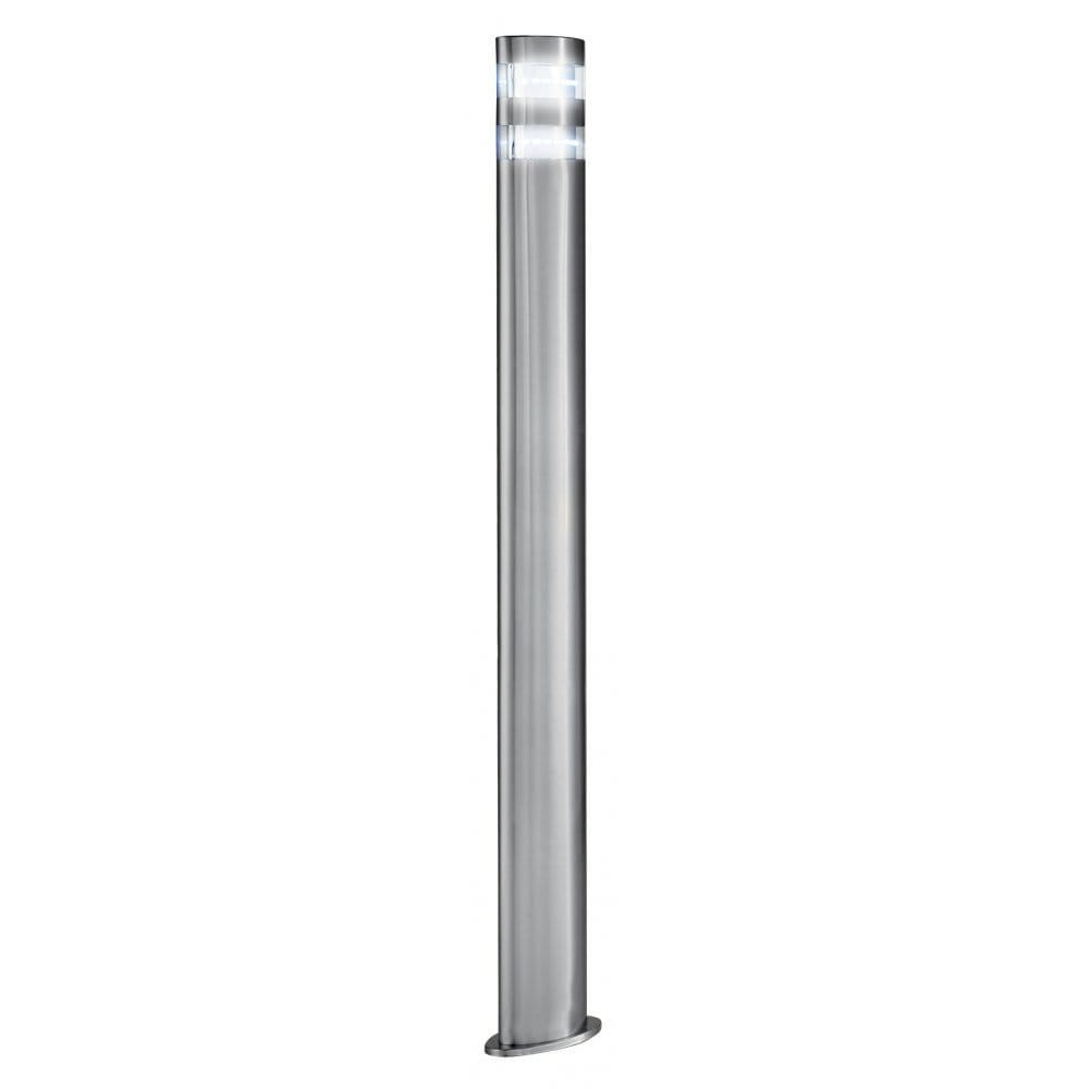 Outdoor led garden lamp post light modern satin silver ip44 for Contemporary outdoor post light fixtures