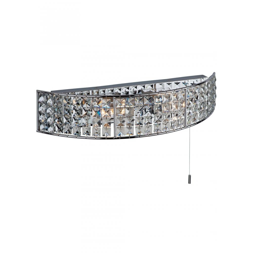 Crystal Wall Lights With Pull Cord : Modern Bathroom Wall Light, with Pull Cord. Chrome and Crystal IP44
