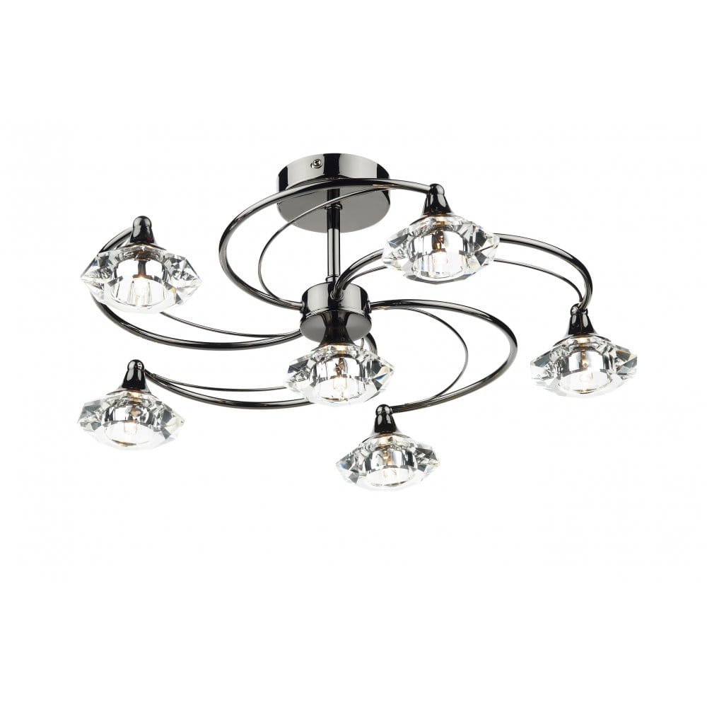 Dark Chrome Ceiling Lights : Modern semi flush black chrome crystal glass ceiling light