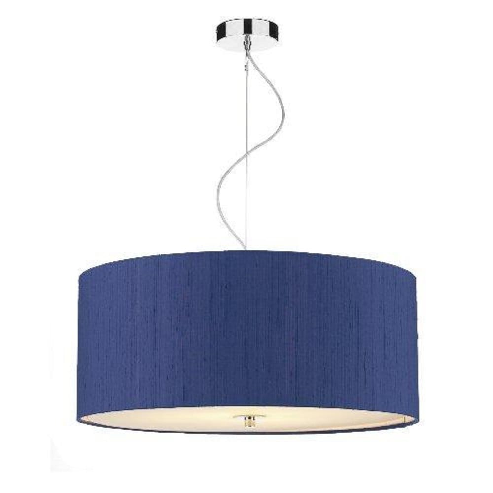 Blue silk ceiling pendant renoir light shade for high ceilings for Large blue lamp shades