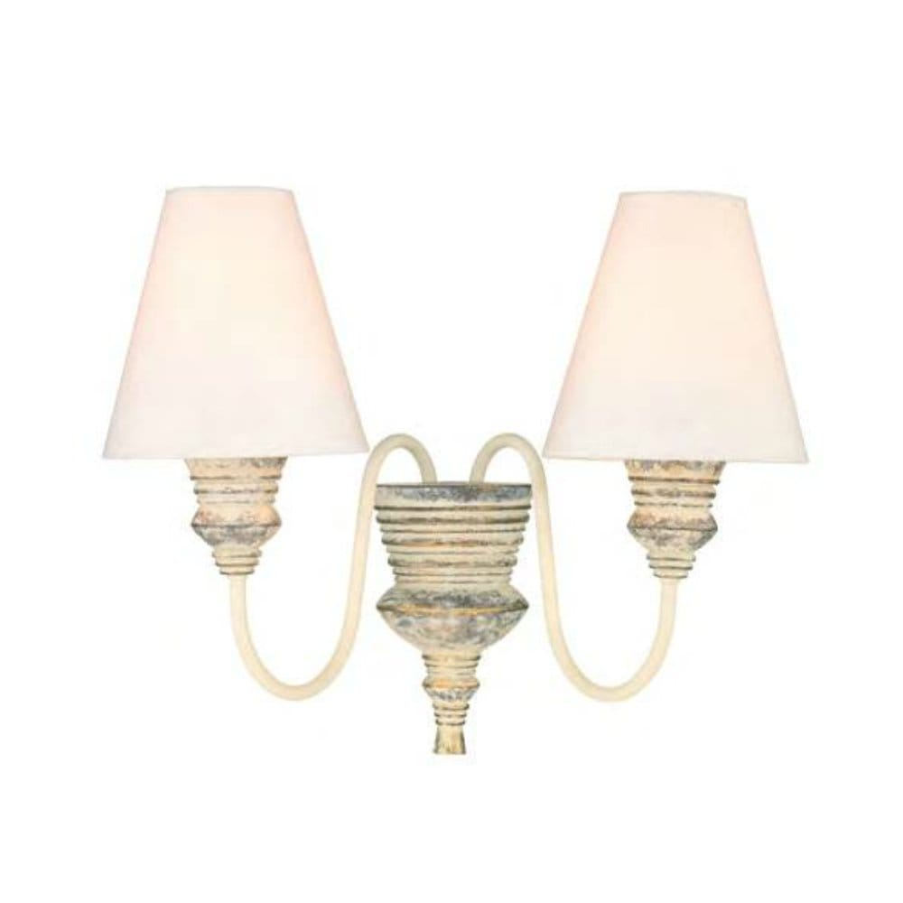 Traditional Distressed Cream Double Wall Light with Silk Shades