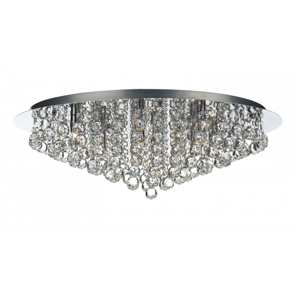Pluto large chrome crystal chandelier for low ceilings - Ceiling crystal chandelier ...