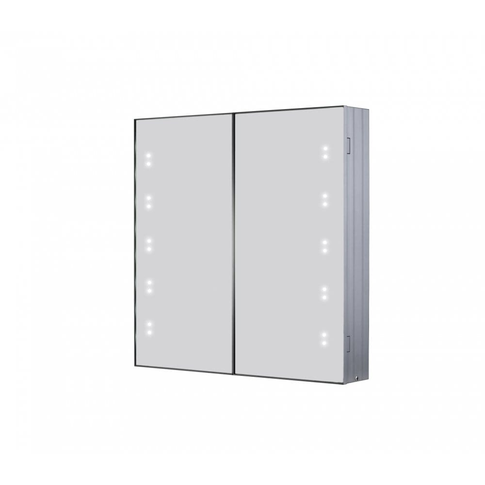 Illuminated mirrored bathroom cabinet with switch shaver for Bathroom cabinets led