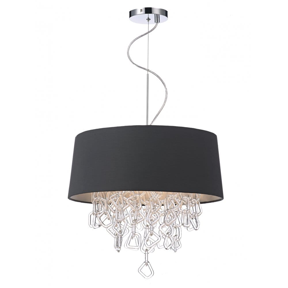 Ceiling Lights Grey : Decorative contemporary ceiling pendant in grey w crystal