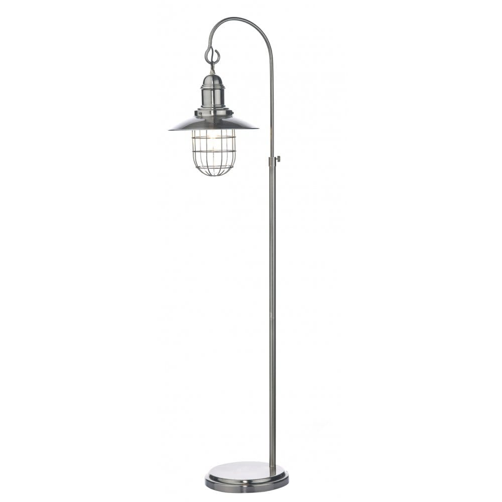 Rustic Antique Chrome Hanging Lantern Floor Lamp Switched