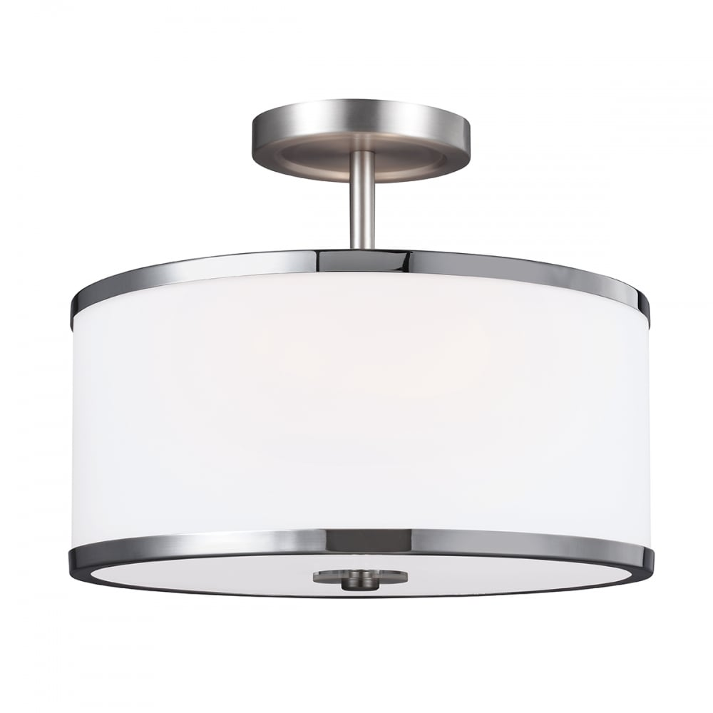 Contemporary satin nickel semi flush ceiling light with opal glass