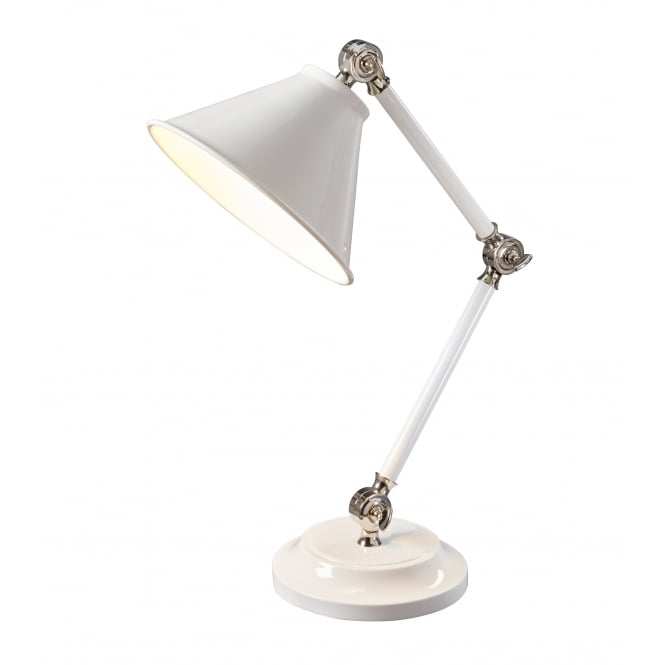 PROVENCE ELEMENT white and polished nickel table lamp