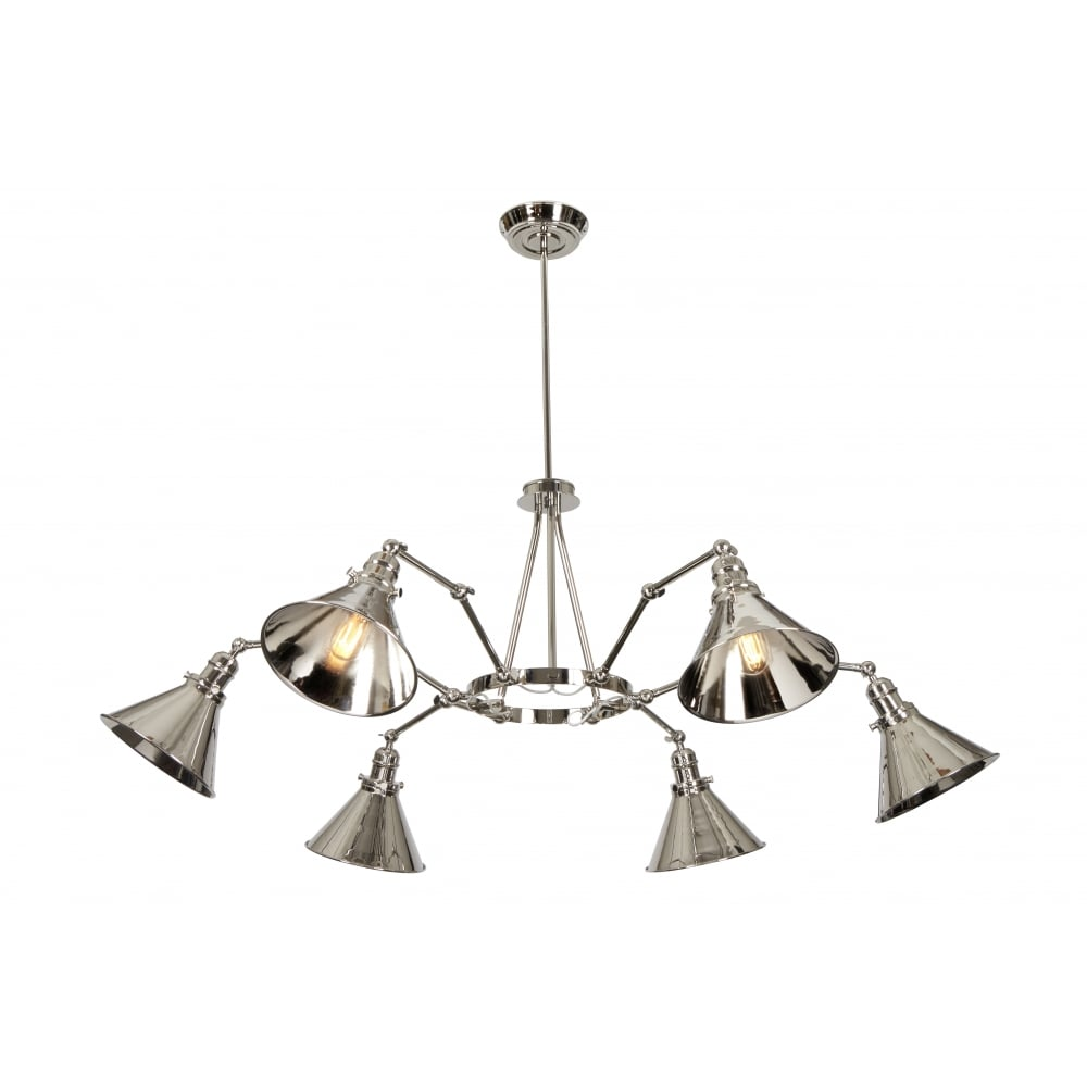 Industrial Style 6 Light Chandelier In Polished Nickel