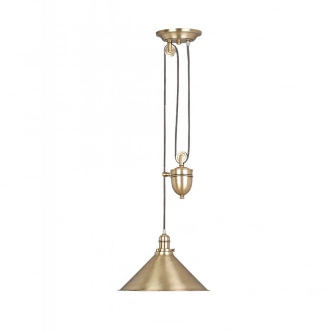 PROVENCE rise and fall ceiling pendant, aged brass