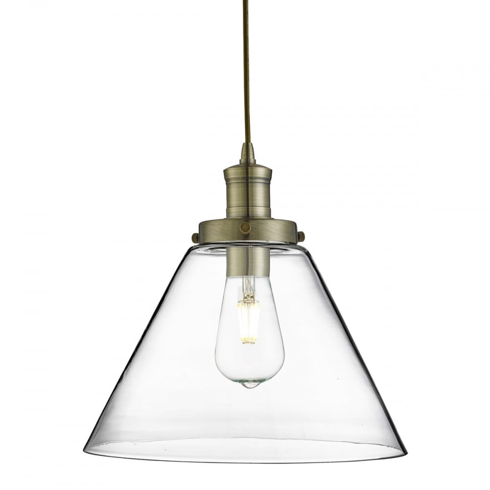 Contemporary Antique Brass Pendant Light With Clear Tapered Glass