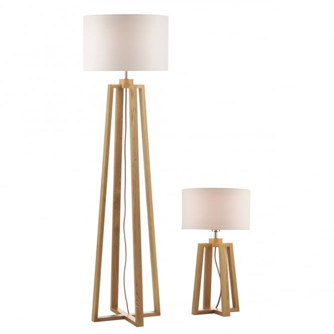 PYRAMID light wood table lamp and floor lamp (2 lamps)