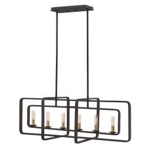 vintage industrial two tone bronze chandelier with tapered frame