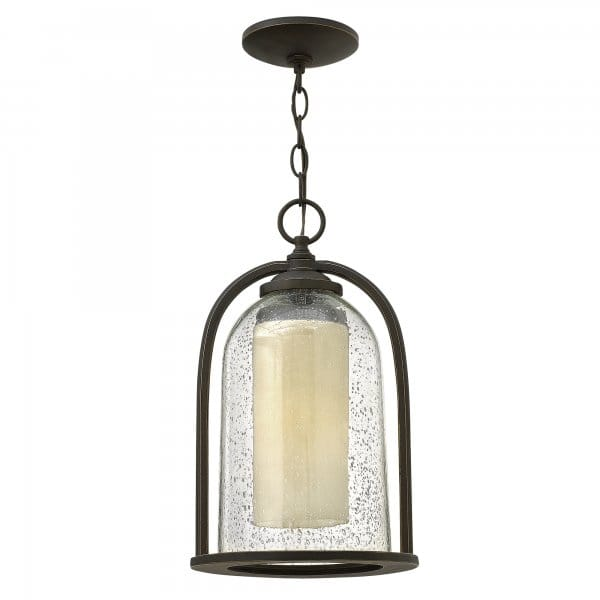 Traditional Glass Bell Shaped Outdoor Hanging Lantern W