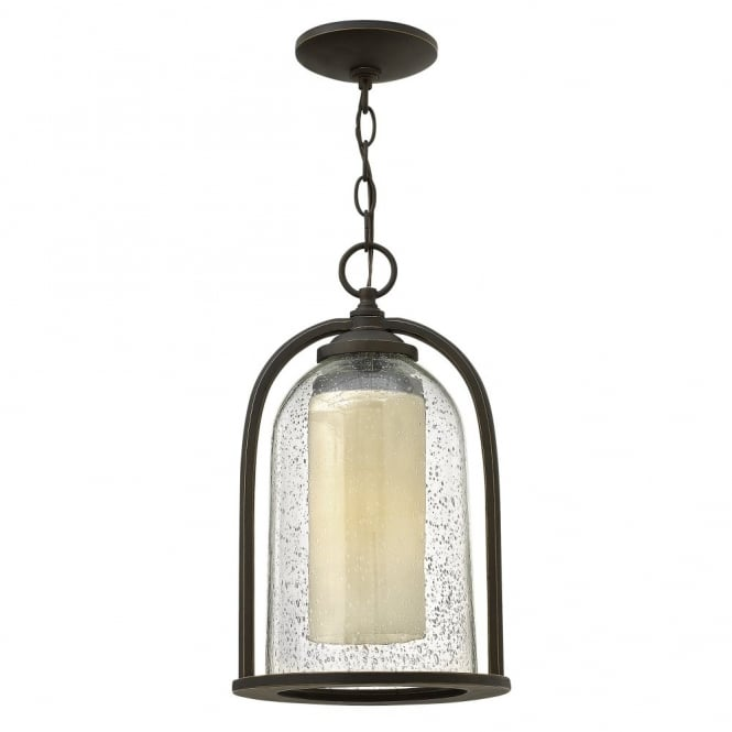 QUINCY rustic glass bell & candle porch chain lantern