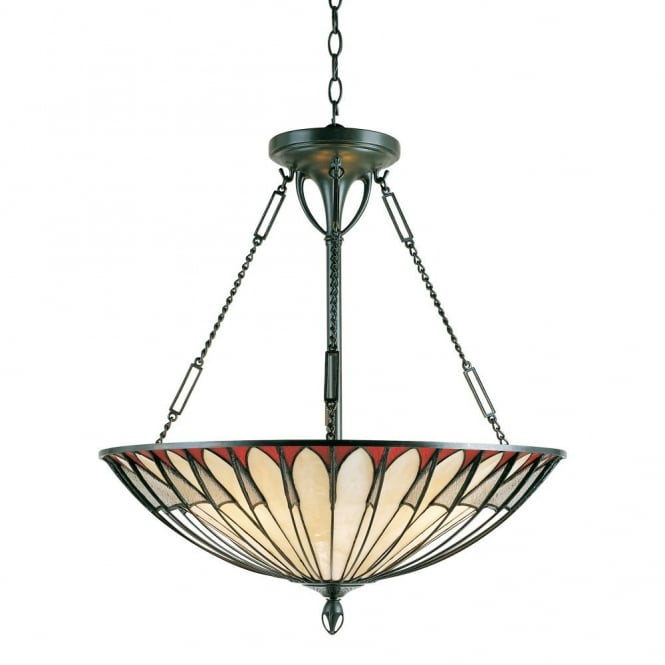 ALAHAMBRE Tiffany ceiling pendant uplighter with cream opalescent glass panels