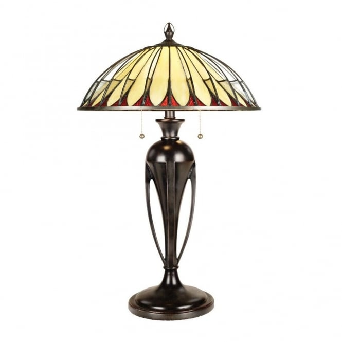 ALAHAMBRE Tiffany table lamp with bronze base and cream opalescent glass Tiffany shade