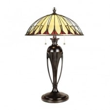 Tiffany table lamp with bronze base and cream opalescent glass shade