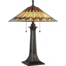 Tiffany Art Deco table lamp with valiant bronze base