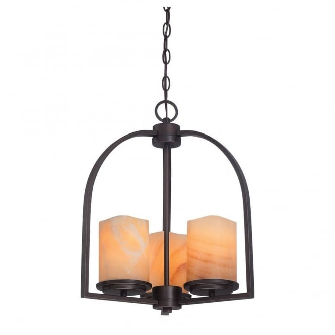 Quoizel ALDORA rustic bronze 3lt ceiling pendant with yellow onyx stone candle effect shades