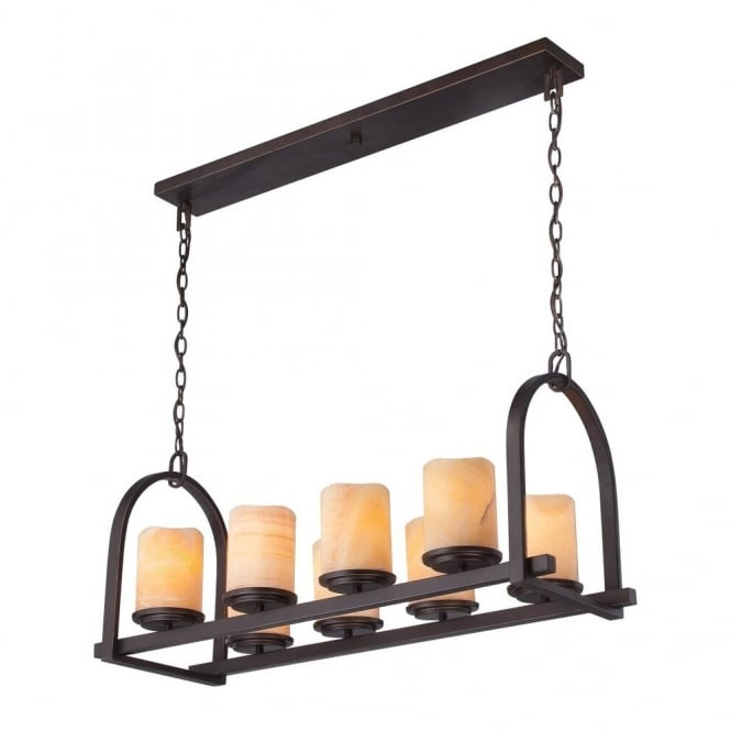 Quoizel ALDORA rustic bronze 8lt long ceiling pendant with yellow onyx stone candle effect shades