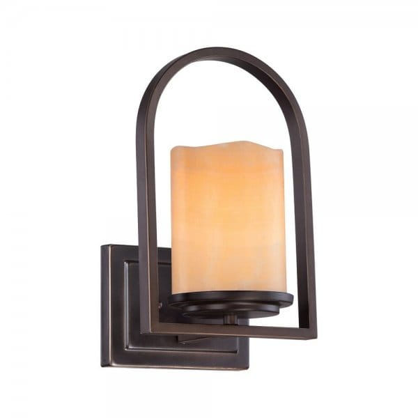 Rustic Bronze Wall Light with Onyx Stone Candle Shape Shade