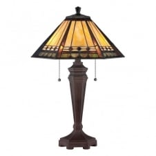 ARDEN Tiffany table lamp with bronze base and amber, copper and pale green art glass shade