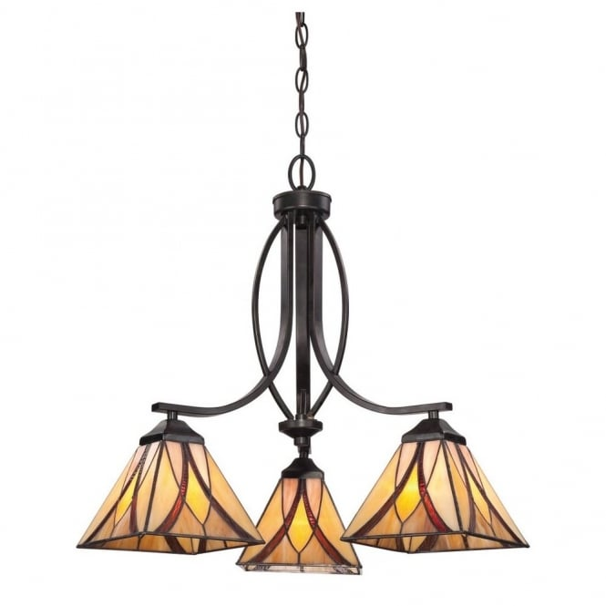 Quoizel ASHEVILLE 3lt Tiffany chandelier with amber and red art glass shades