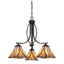 Tiffany style 3 light ceiling pendant with amber and red art glass shades