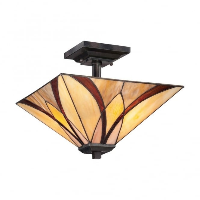 Quoizel ASHEVILLE Tiffany semi flush ceiling light with bronze fixing and amber and red art glass shade