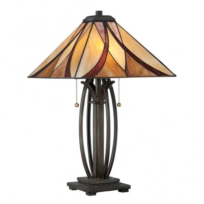 Tiffany Style Table Lamp With Bronze Base And Amber And