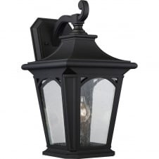 Traditional Black Exterior Wall Lantern with Clear Seeded Glass Panels