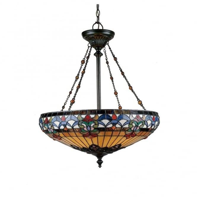 Quoizel BELLE FLEUR Tiffany ceiling pendant uplighter with vibrant art glass shade