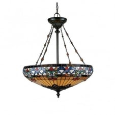 Tiffany style ceiling pendant uplighter with art glass shade