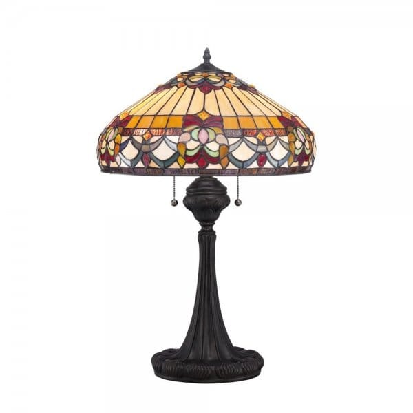Tiffany style table lamp with bronze base and art glass shade for Quoizel belle fleur tiffany 3 light floor lamp