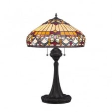 Tiffany style table lamp with bronze base and art glass shade