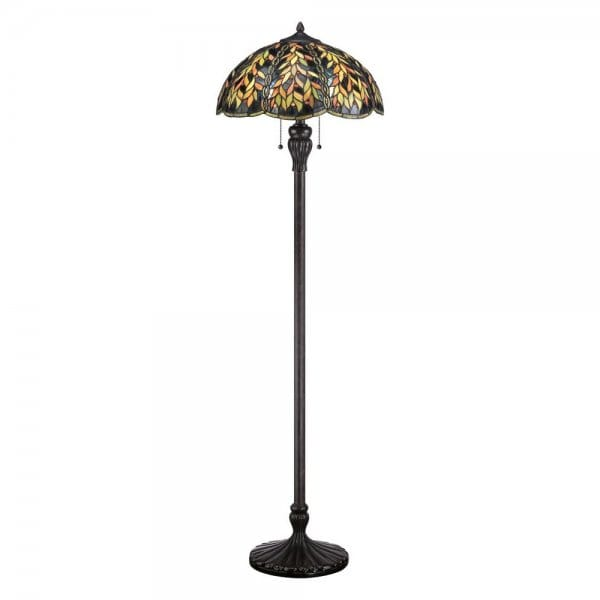 tiffany style floor lamp with bronze base and green. Black Bedroom Furniture Sets. Home Design Ideas