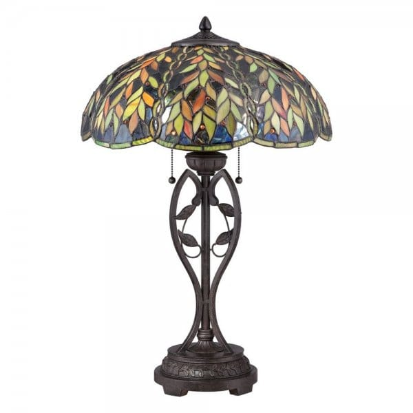 Tiffany Style Table Lamp With Bronze Base And Green Glass