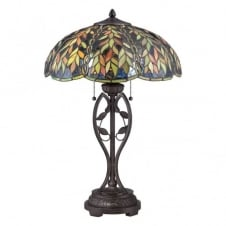 Tiffany style table lamp with bronze base and green glass shade