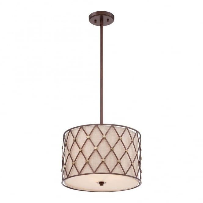 Quoizel BROWN LATTICE contemporary copper criss-cross patterned ceiling pendant with fabric inner shade (medium)