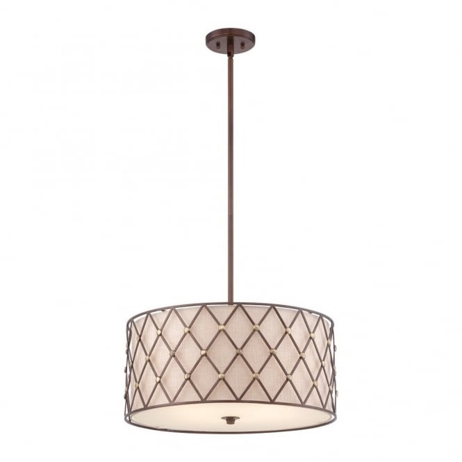Quoizel BROWN LATTICE contemporary copper criss-cross patterned large ceiling pendant with fabric inner shade