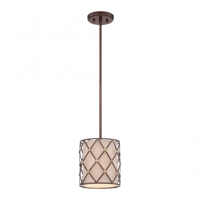 Quoizel BROWN LATTICE contemporary copper criss-cross patterned mini ceiling pendant with fabric inner shade