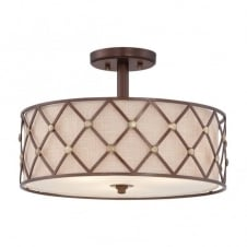 BROWN LATTICE contemporary copper criss-cross patterned semi flush ceiling light with fabric inner shade