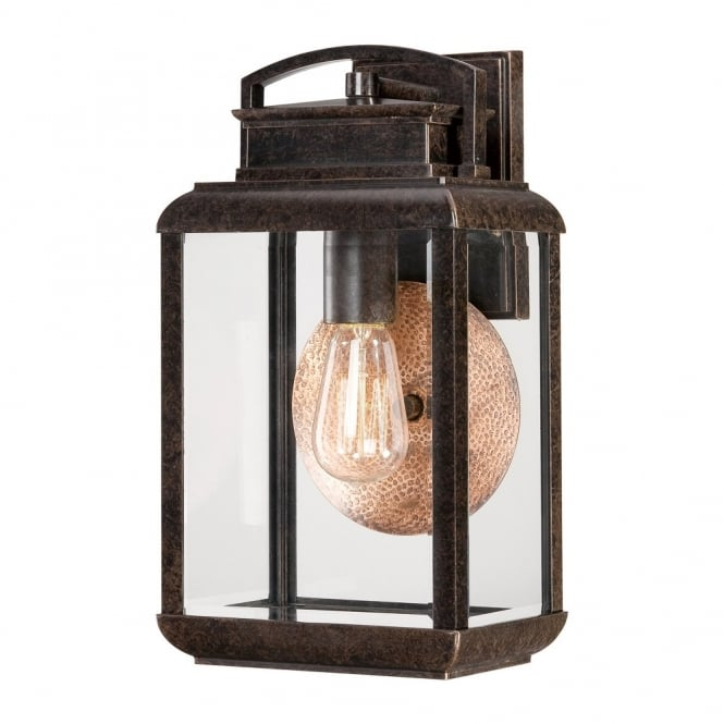 Quoizel BYRON vintage exteiror wall lantern in bronze with copper reflective plate (medium)