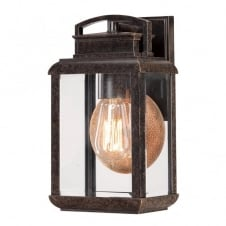 BYRON vintage exteiror wall lantern in bronze with copper reflective plate (small)