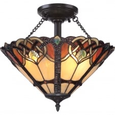Tiffany glass semi flush ceiling light