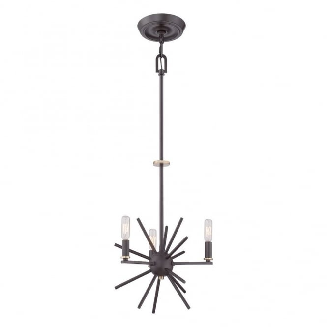 Quoizel CARNEGIE industrial vintage style 3lt chandelier pendant in a bronze finish