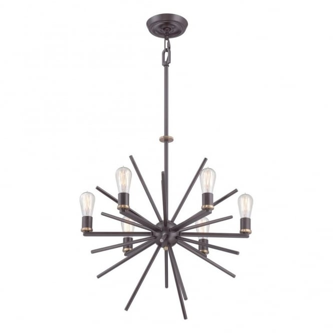 Quoizel CARNEGIE industrial vintage style 6lt chandelier pendant in a bronze finish