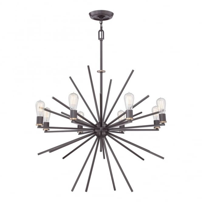 Quoizel CARNEGIE industrial vintage style 8lt chandelier pendant in a bronze finish
